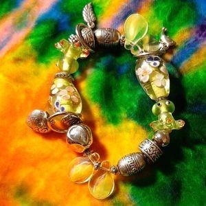 Lime Green Glass Bead Stretch Bracelet